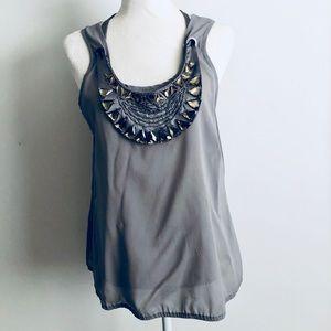 Bebe grey sheer top w/ neckline accessorized